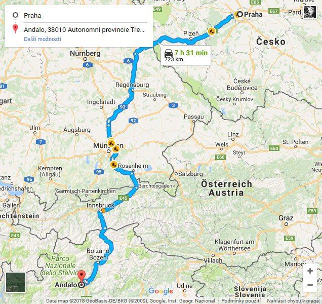 Trasa z Prahy do Paganella ski